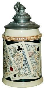 Suite of Cards Hanke Stein w Fancy Pewter Lid