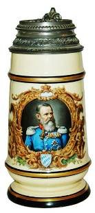 1l Bavarian Military Man w Fancy Pewter Lid