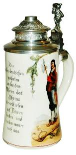 Landsknechts & Verse Stein w Fancy Pewter Lid