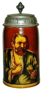Mettlach Rookwood Man w Pilsner of Beer Stein