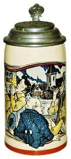 Mettlach Drinkers at Tavern Stein w Fancy Pewter