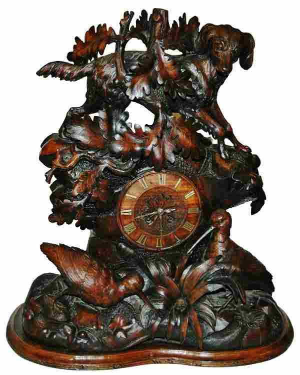 Black Forest Carved Clock Dog Birds - 19th Century