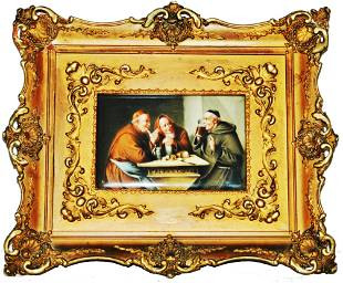 Hand Painted Monks Drinking Framed Plaque Signed