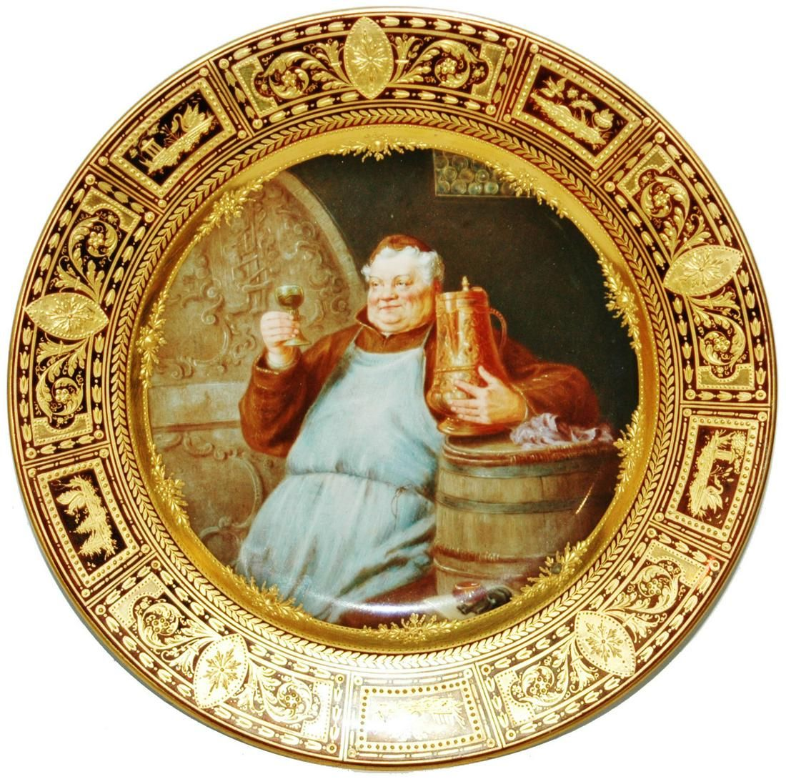 Royal Vienna Monk w Copper Tankard Painted Plate
