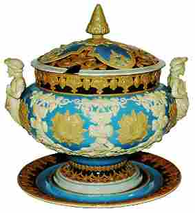 Mettlach 5L Punch Bowl Floral Fesign w 3D Knights