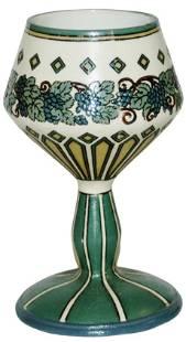 Mettlach Goblet Art Nouveau Floral Design