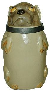 Mettlach Pug Dog Character Stein w Pewter Collar
