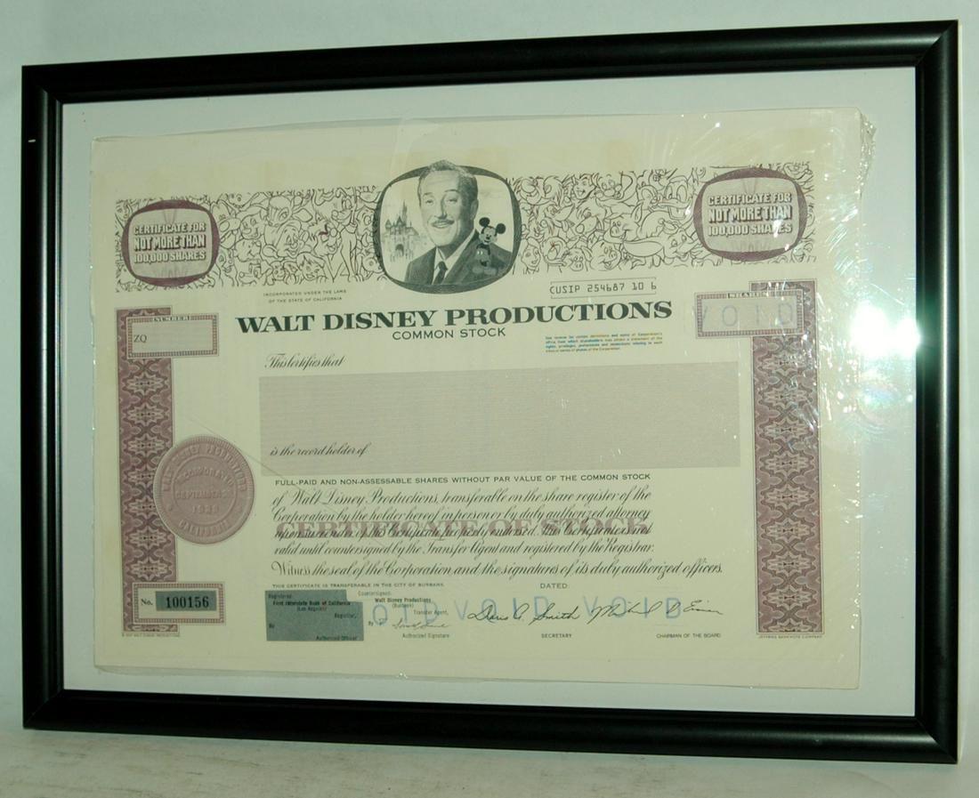 Walt Disney Productions Common Stock Certificate