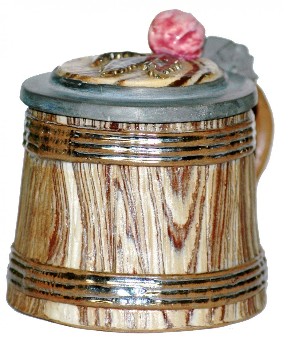 7: Mettlach #469 Miniature Barrel w Inlay Lid