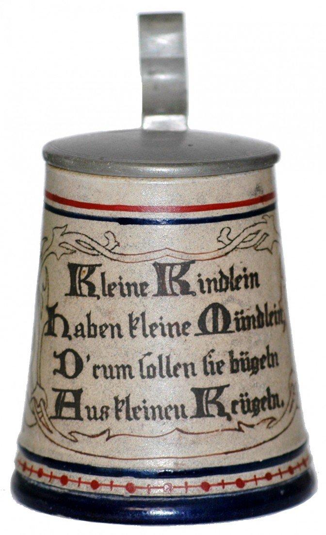 8: Stoneware, Miniature Stein, August Saeltzer – Rare