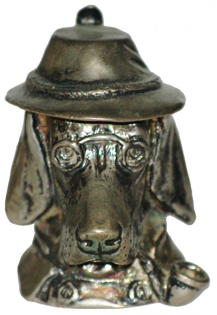 16: Silver Miniature Gentleman Dog Character Stein