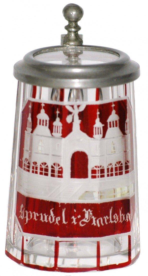 17: Bohemian Blown Glass Miniature Spa Stein