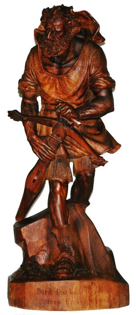 """439: Swiss Carved Wood 36"""" Figure. Wilhelm Tell."""