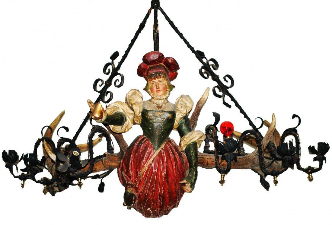 441: Large Carved Wood LusterweipschenChandelier Woman