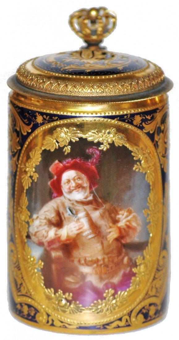 12: Hand Painted Royal Vienna Falstaff Mini Stein