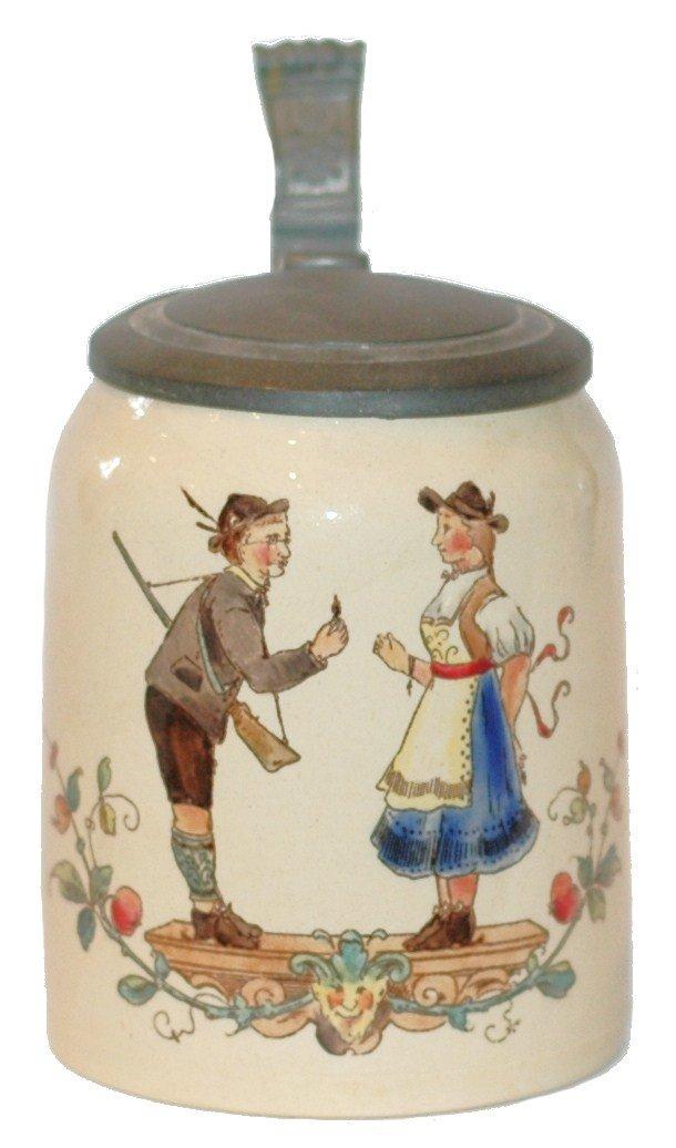18: Mettlach #1526 Hunter and Barmaid Mini Stein
