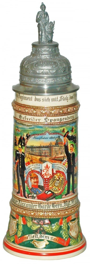 74: Berlin Regimental Pottery Stein