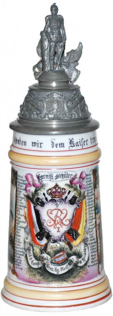 93: Regimental Porcelain Stein 1895-97