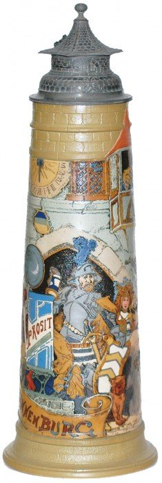 Large 5 Liter Schlitt Knight In Castle Mettlach St