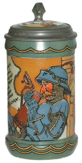 Thirsty Knight Mettlach #3091 Stein