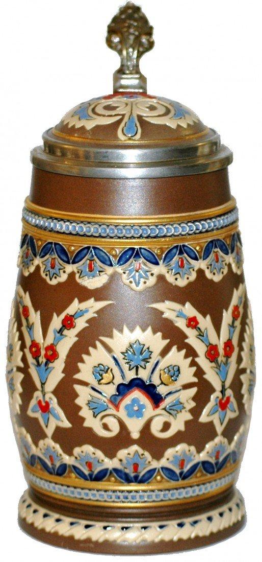 172: Mosaic Mettlach Floral Stein