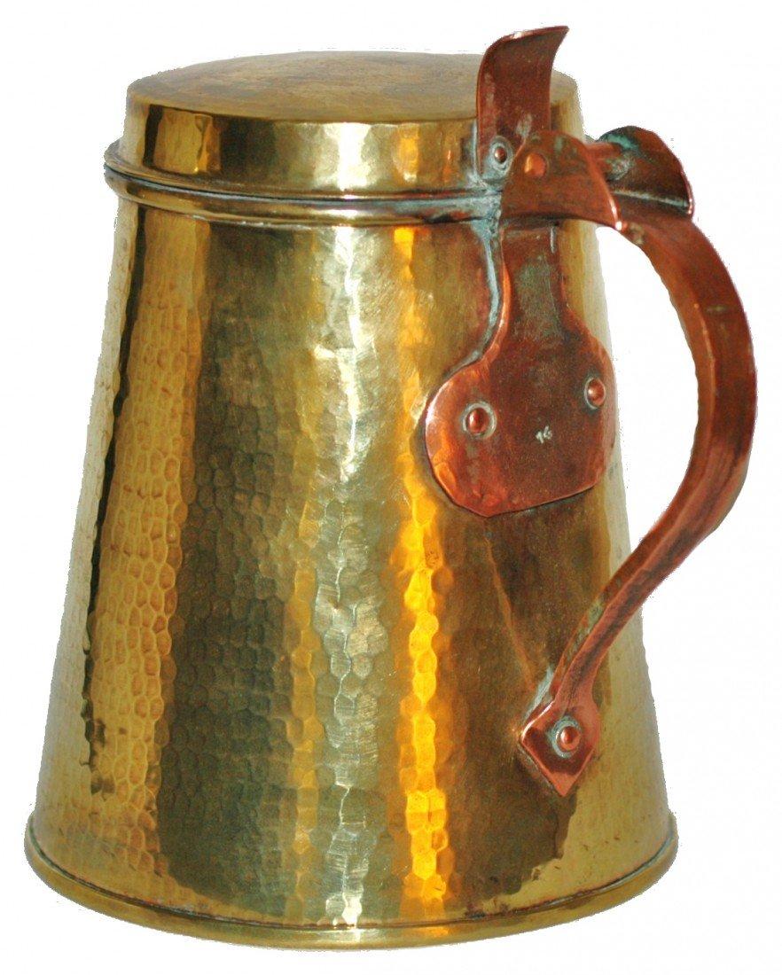 183: Hand Hammered  Brass One Liter Stein