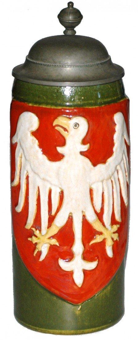 184: Large Eagle in Shield Majolica Stein
