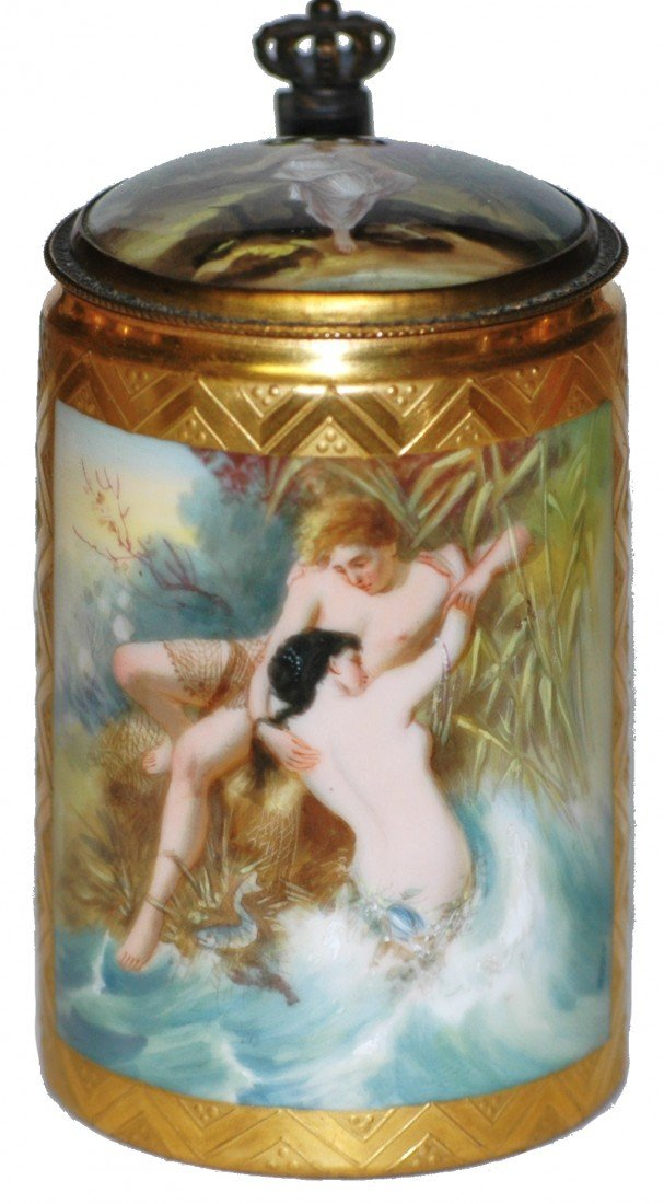 185: Royal Vienna Adam & Eve Scene Stein