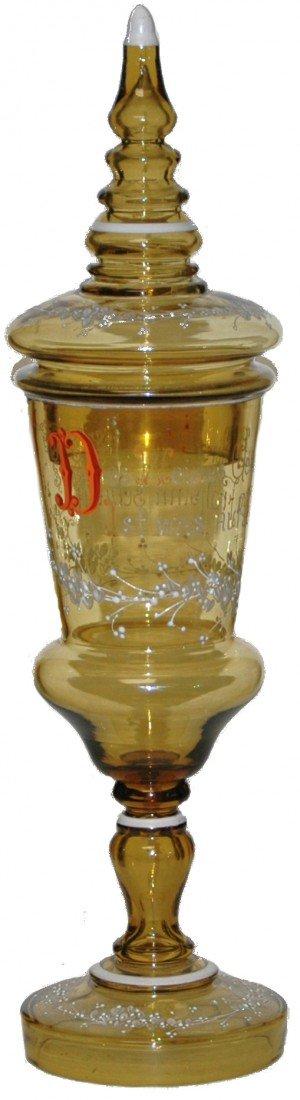"""188: Blown Amber Glass 16"""" Pokal"""