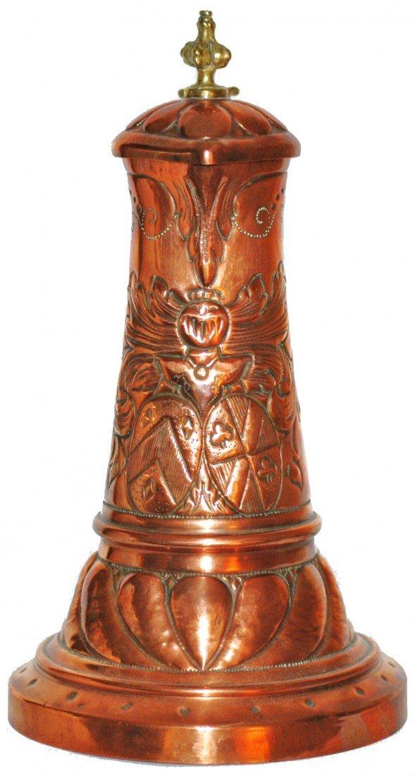 192: Copper Hand Hammered  Knight Helmet & Shield Stein