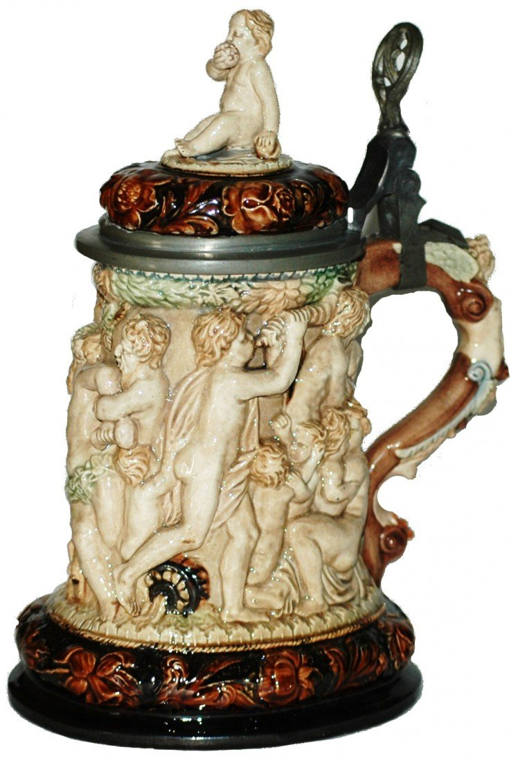 199: Majolica Relief One Liter Stein