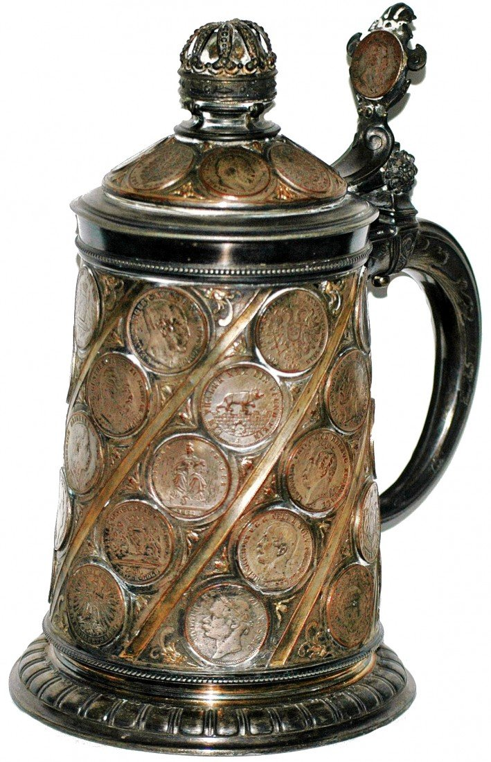 200: Coin Impression Silver Plate Two Liter Stein