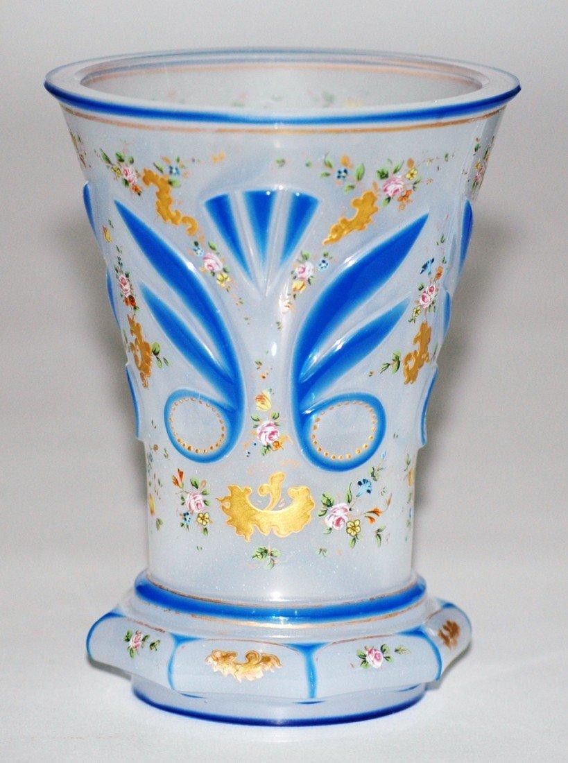 3: Opaline, Enameled Double Overlay Glass Beaker