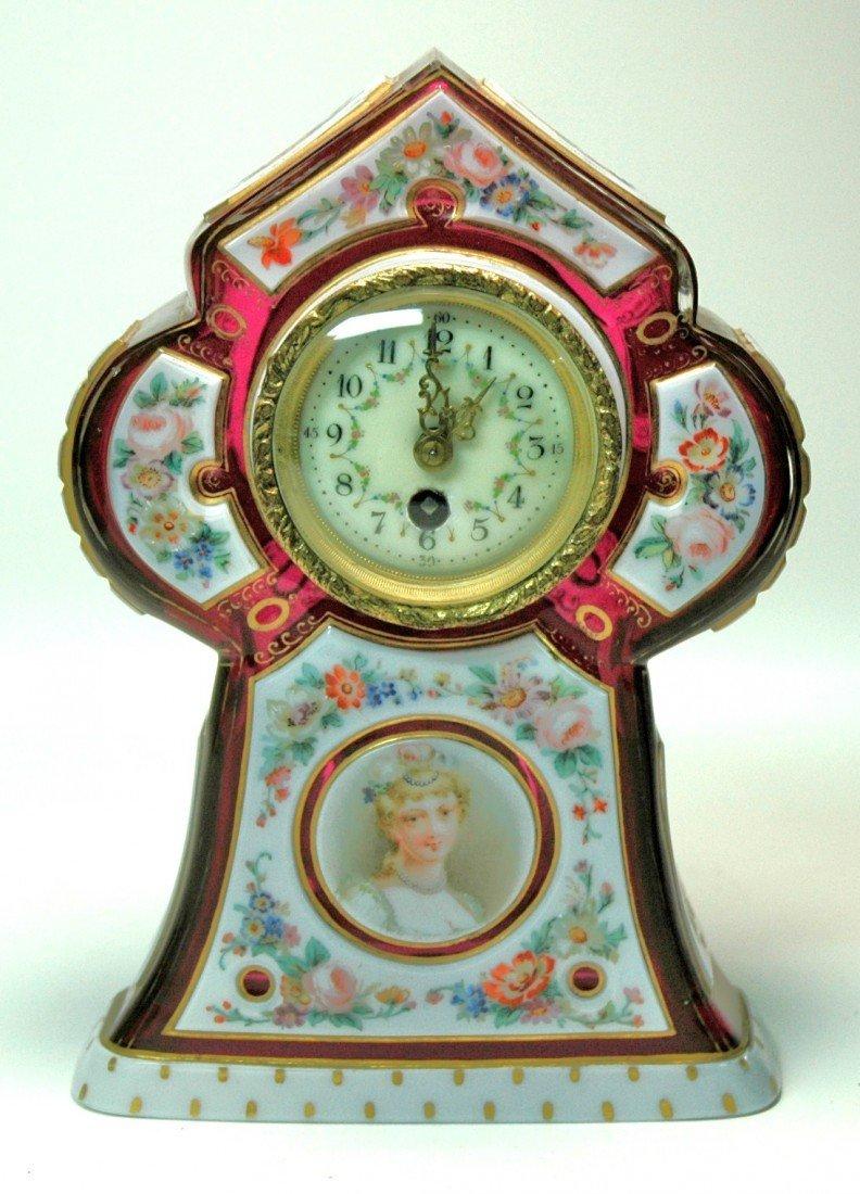 5: Glass Clock, Overlay Bohemian c. 1850