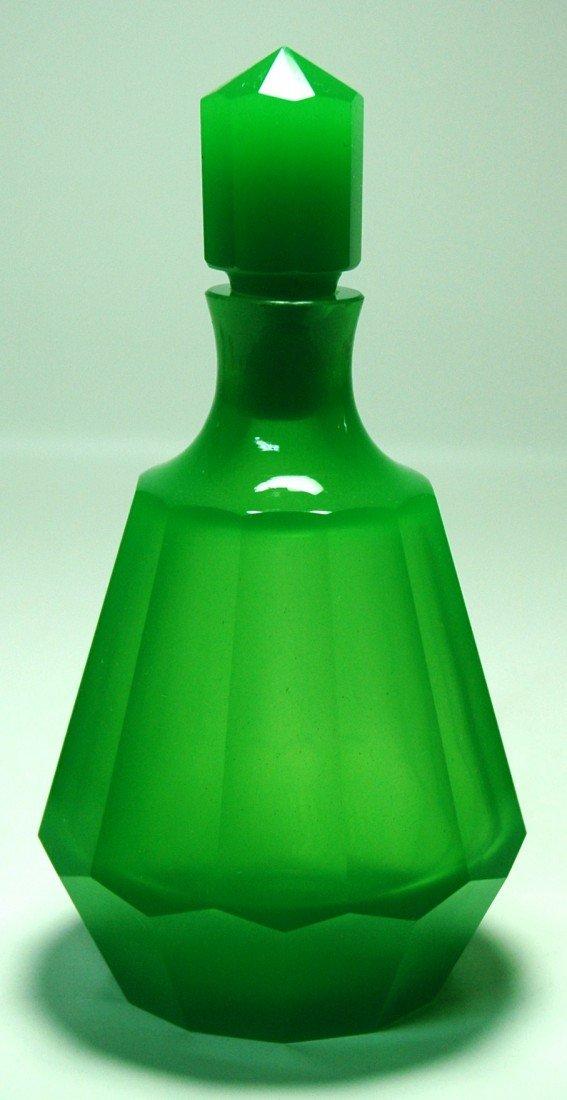 7: Green Opaline Facet Cut, Glass Perfume