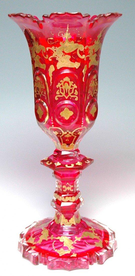 13: Gilded,  Enameled, Overlay Glass, Facet Cut Vase