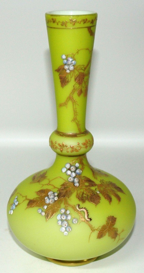 15:  Blown Satin Glass Enameled Vase