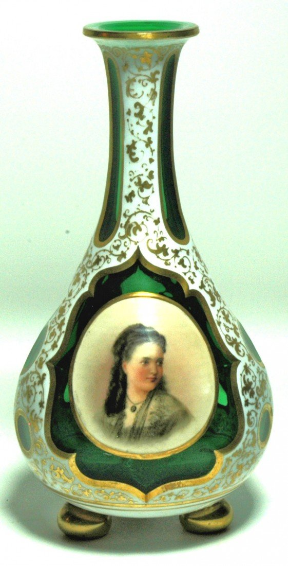 19: Enamel Portrait Overlay Glass Vase