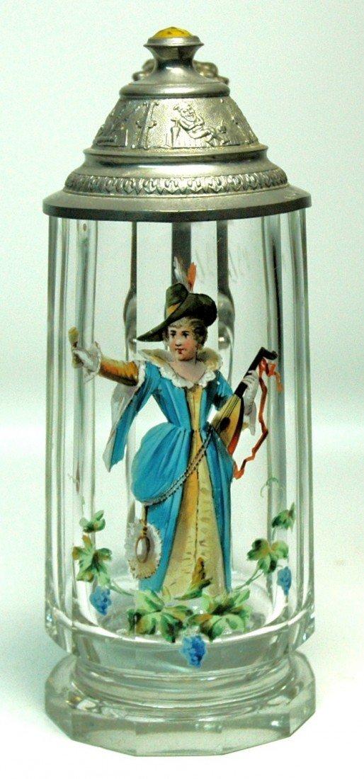 21: Enamel Blown Glass Stein w Prism Lid