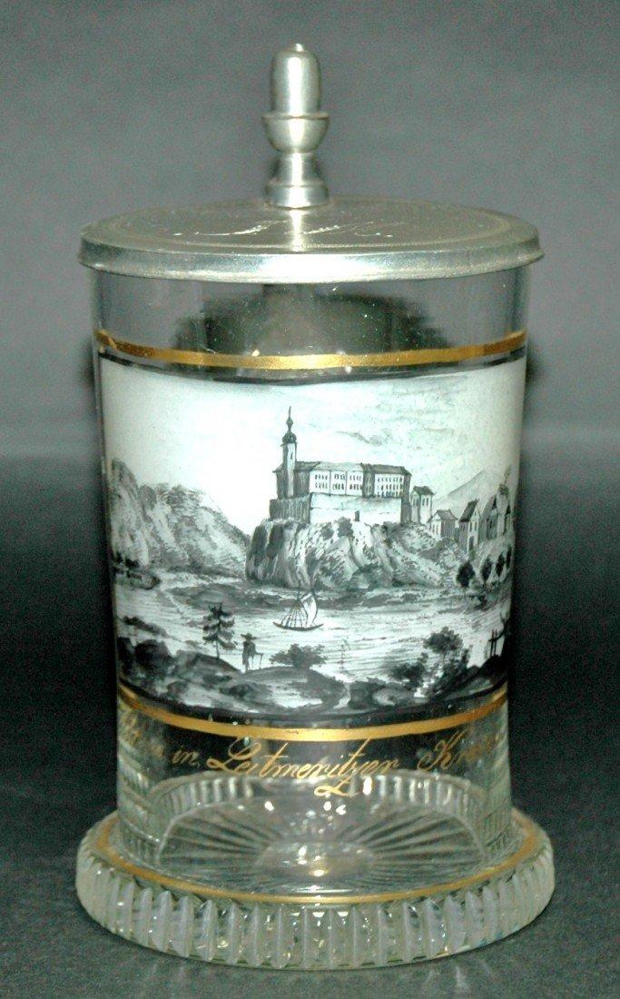 22: Black Enamel Blown Glass Stein c 1820