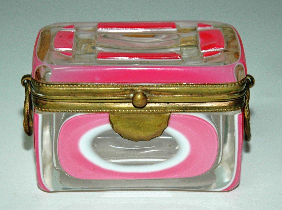 77: Pink Overlay Facet cut Glass Box