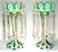 96: Pair of Overlay Glass Lusters