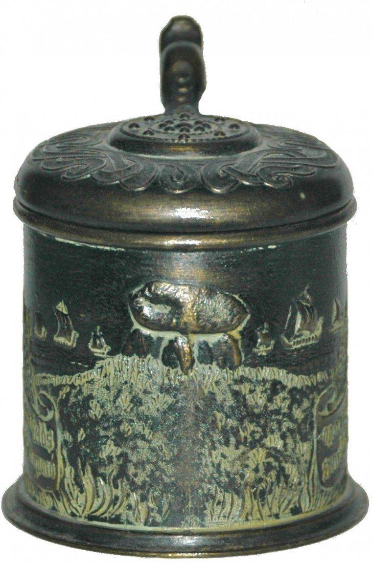 8: Miniature Brass Relief Stein