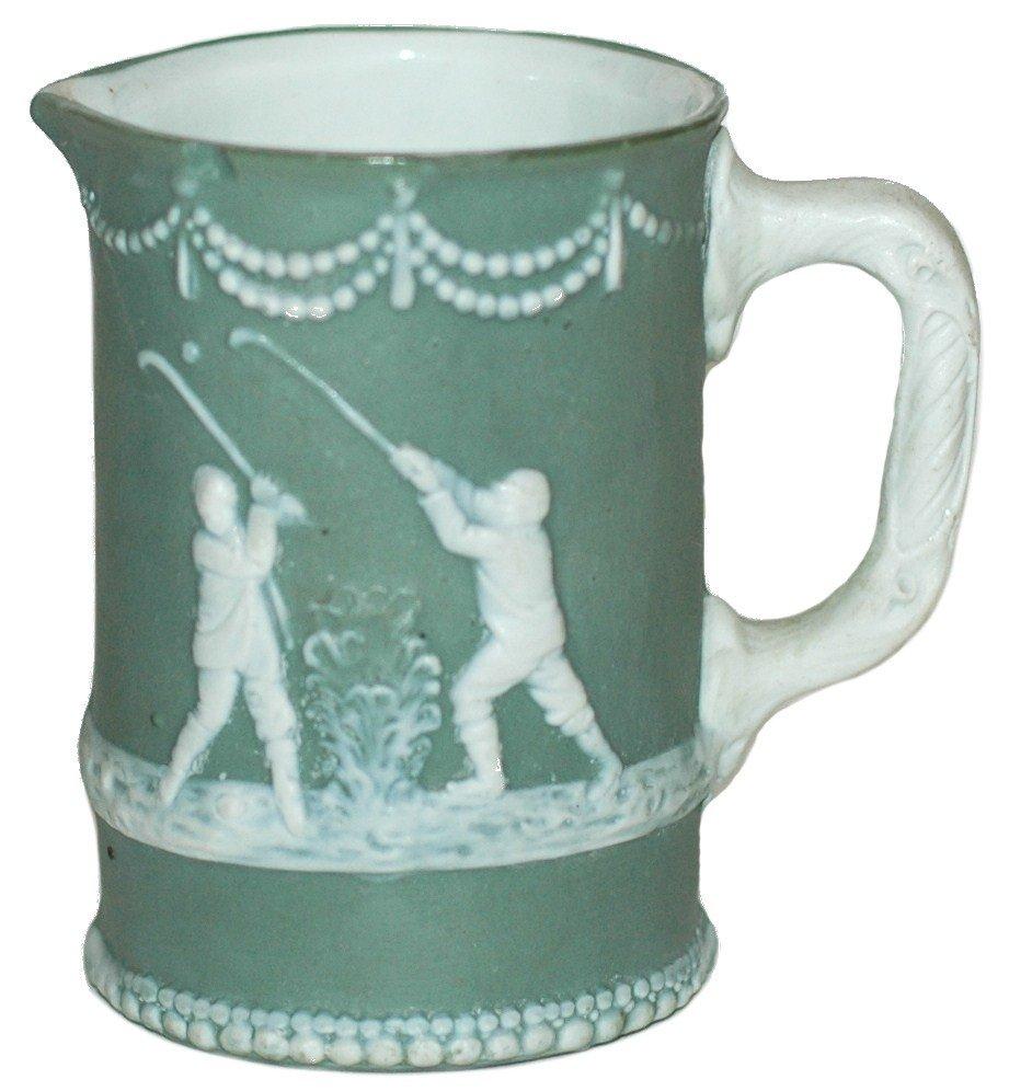 23: Jasperware Cameo Golfing Scenes Pitcher