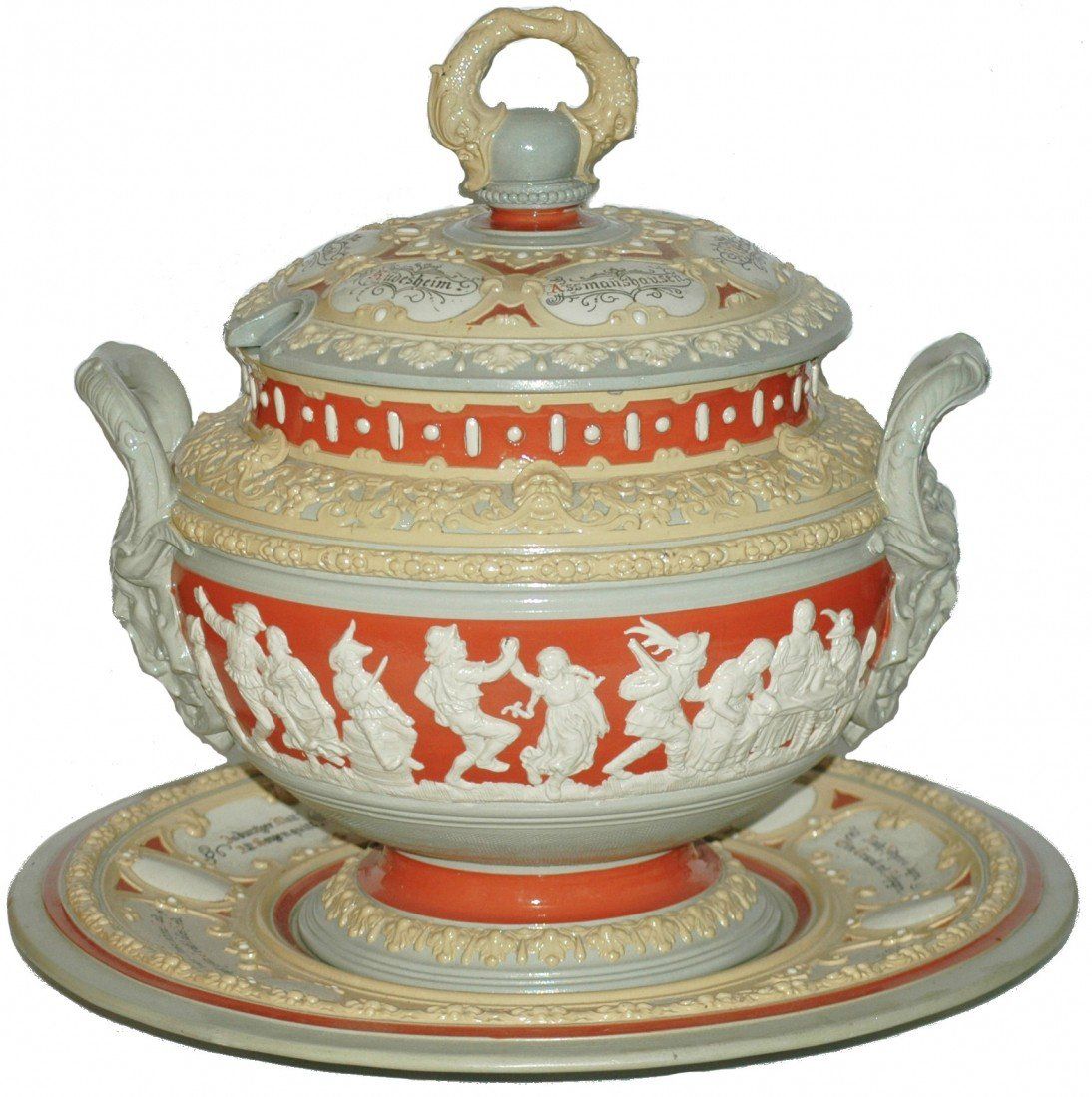 190: Mettlach Punch Bowl, Lid and Underplate