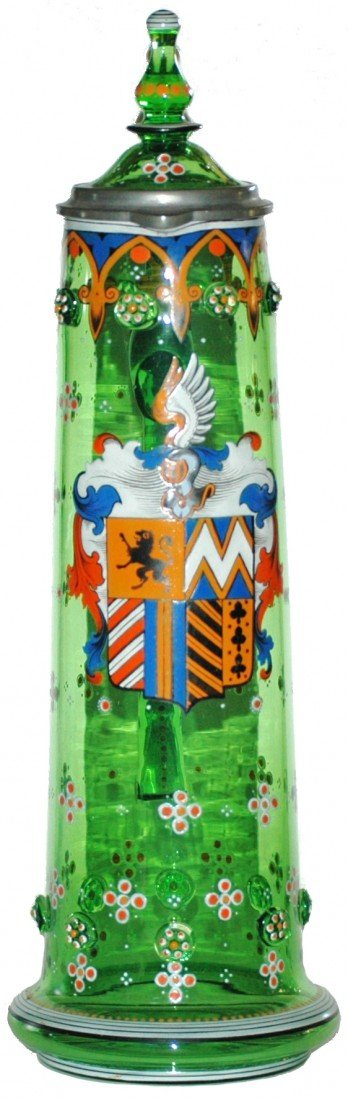 254: 2L Shield and Prunts Green Glass Stein
