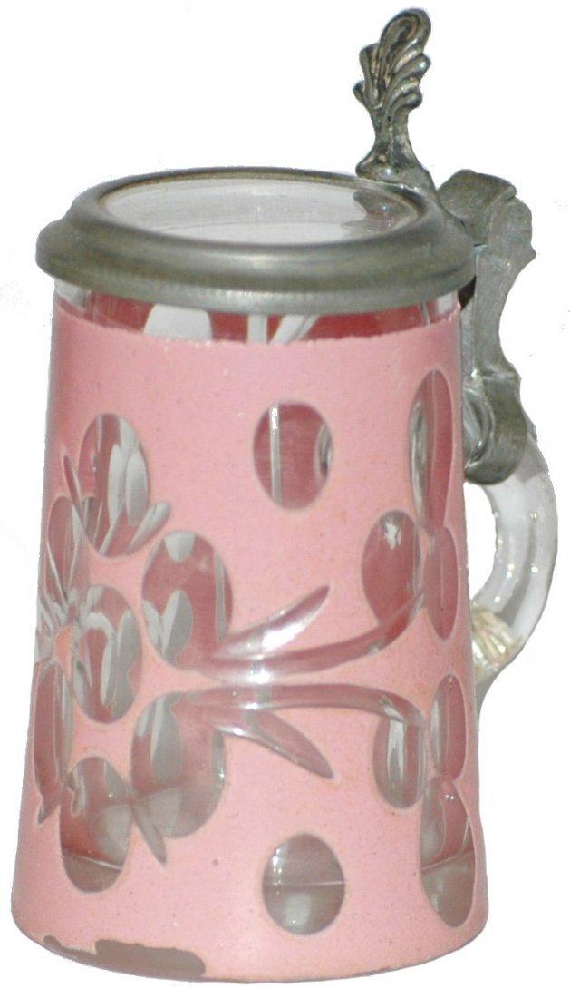 8: C. 1880 Overlay Blown Glass Mini Stein