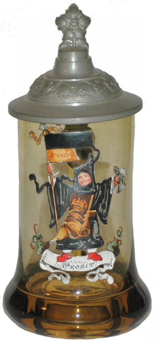 16: Blown Amber Glass Enamel Munich Child Stein