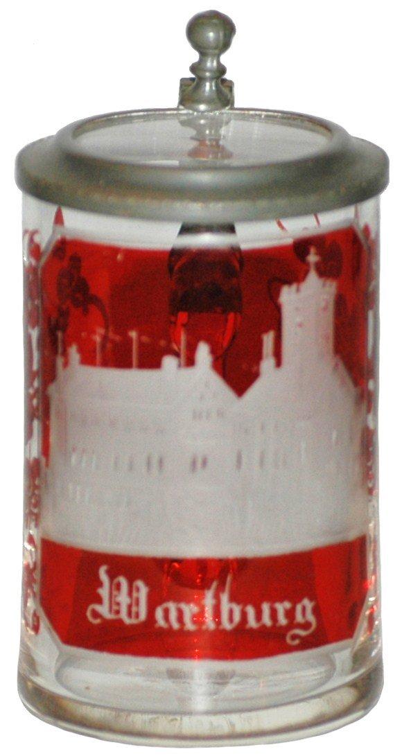 23: Wheel-cut Wartburg Castle Scene Mini Glass Stein