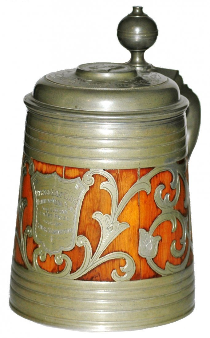 424: 1L Wood Slat and Pewter Shield c. 1900 Stein